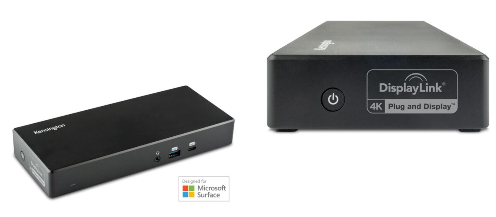 Eine Gesamt- und Seitenansicht der Kensington USB-C & USB-A Dualen 4K Dockingstation