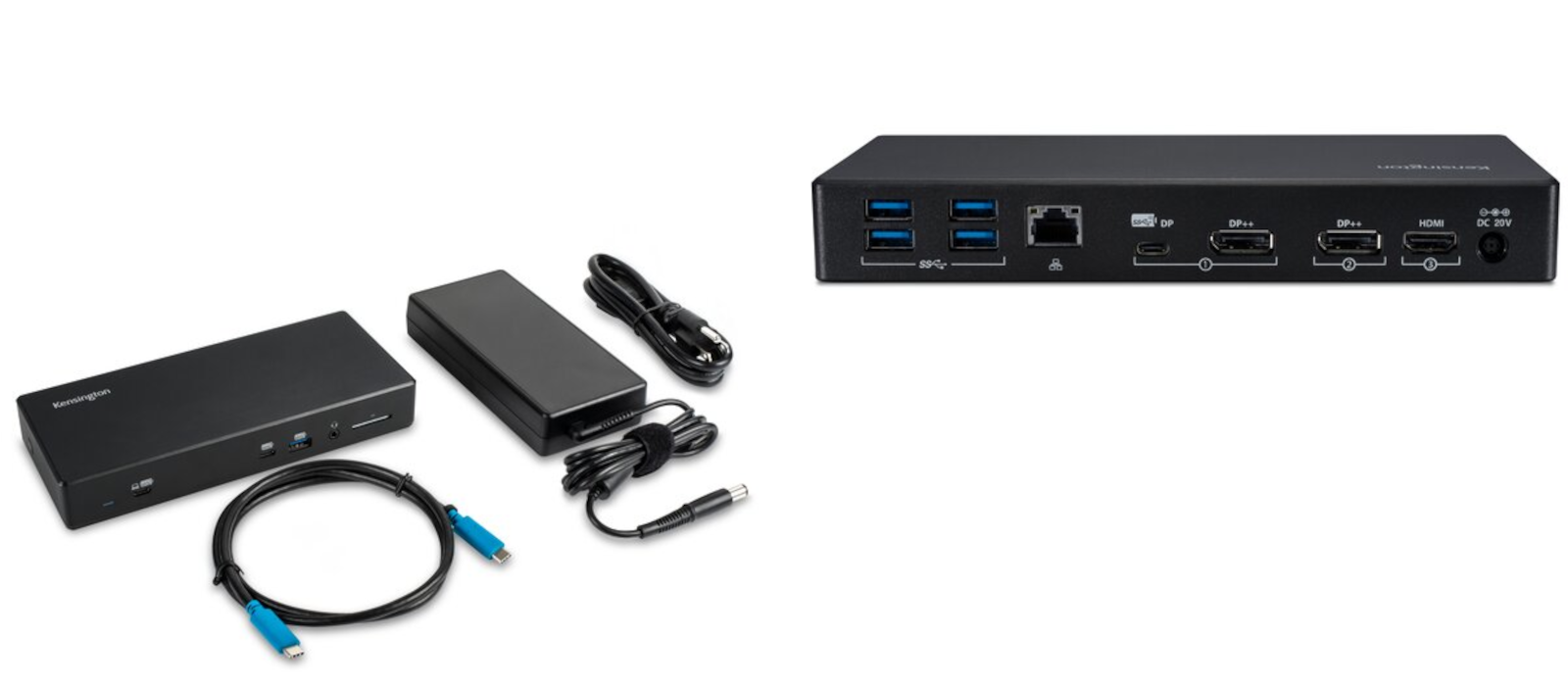 Two pictures show the overall view of the Kensington USB-C & USB-A Dual 4K Docking Station including cables as well as the rear view of the docking station