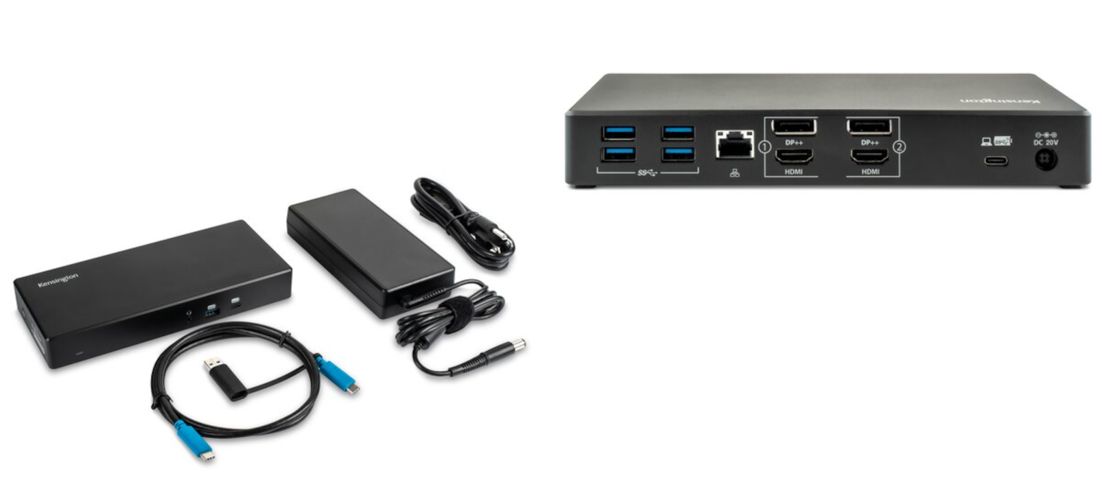 Two pictures show the overall view of the Kensington USB-C Dual 4K Docking Station including cables as well as the rear view of the docking station