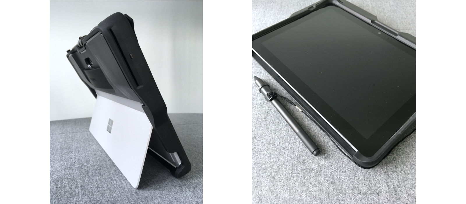 The Kensington® BlackBelt™ Rugged Case for the Surface Go and Surface Go 2 with CAC card reader and pen holder for the Surface Pen