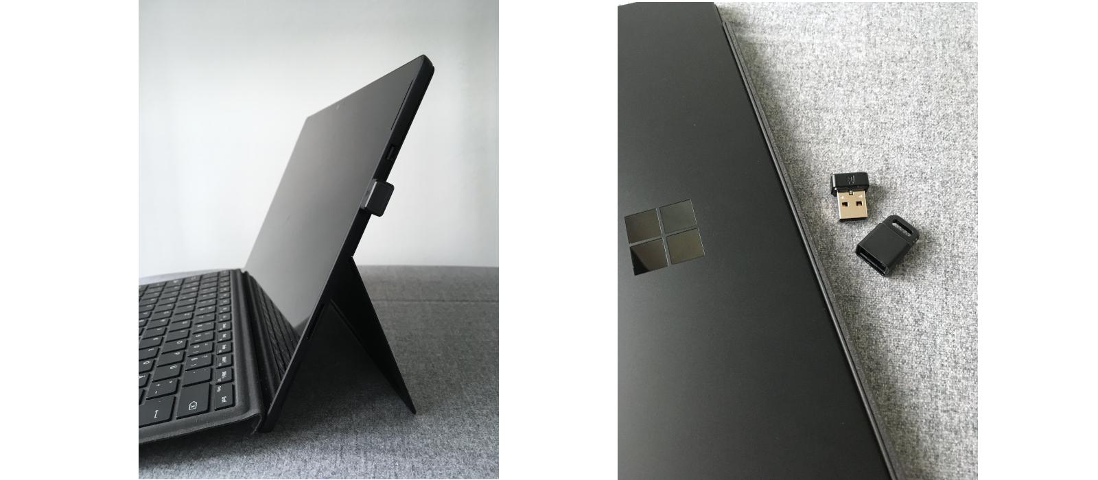 "The Kensington® VeriMark™ Fingerprint Scanner ""Designed for Surface"" with the Surface Pro 6"