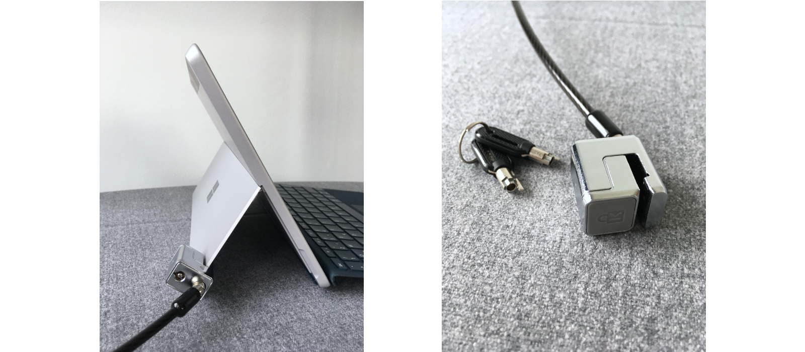 Kensington® Cable Lock for the Surface Pro 7+/7/6/5/4 & Surface Go and Surface Go 2 attached to the Surface Go